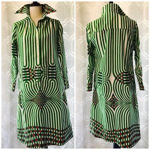 Lanvin Vintage Retro 70s Green Groovy Shirtdress